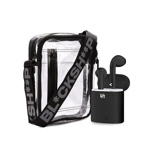 Audífono Bluetooth True Wireless Tweaker, resistente al agua y sudor + morral transparente multiusos