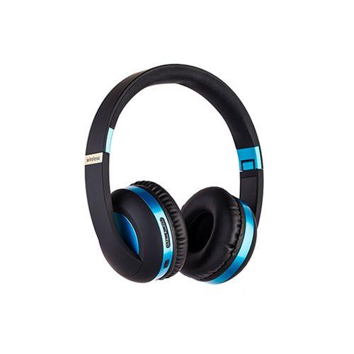 Audífono Bluetooth On ear azul diseño Metálico, función manos libres, Aux-in, FM