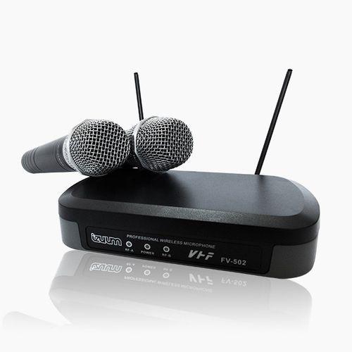 Sistema de Micrófono inalámbrico dual X2 FV-502 con cobertura hasta 50m, Negro