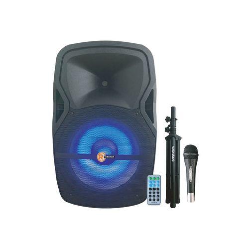 """Parlante Bluetooth de 15"""" de 60W, con luces LED de colores, incluye 1 micrófono, trípode, control remoto"""