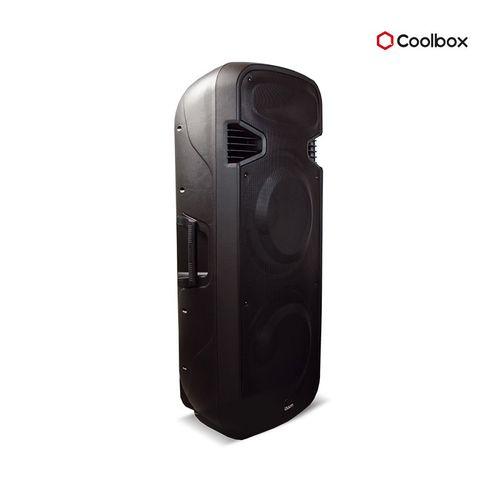 """Parlante bluetooth de 15"""" 1.5V 8OHM con Subwoofer JE215PBLK, entrada de micrófono y guitarra, ecualizador, puerto USB, SD, con ruedas"""