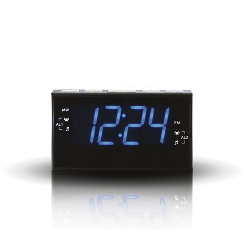 Radio Reloj despertador 1.2 Led Azul regulable, doble alarma, color negro
