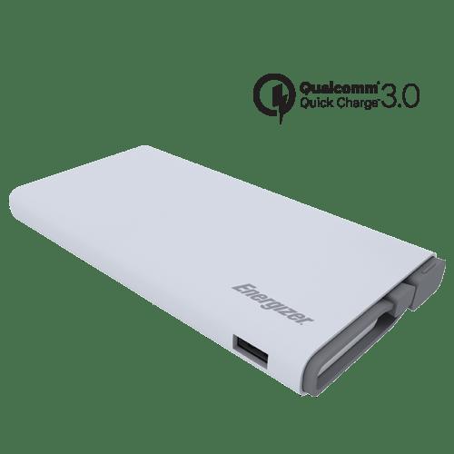 Batería externa de 10,000 mAh color blanco, QC 3.0 carga rápida, indicador de carga