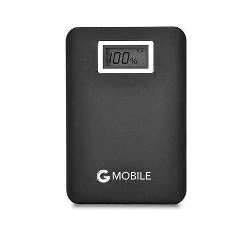 Batería externa de 15,600 mAh color negro con pantalla digital para indicar nivel de carga