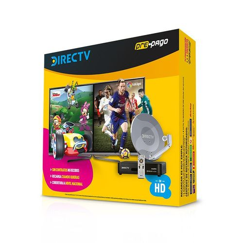 Kit Prepago DirectTV - Decodificador HD con Antena de TV Prepago 46cm