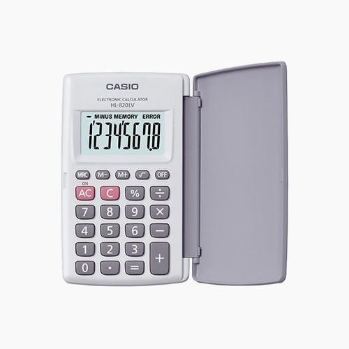 Calculadora de bolsillo con tapa Gris