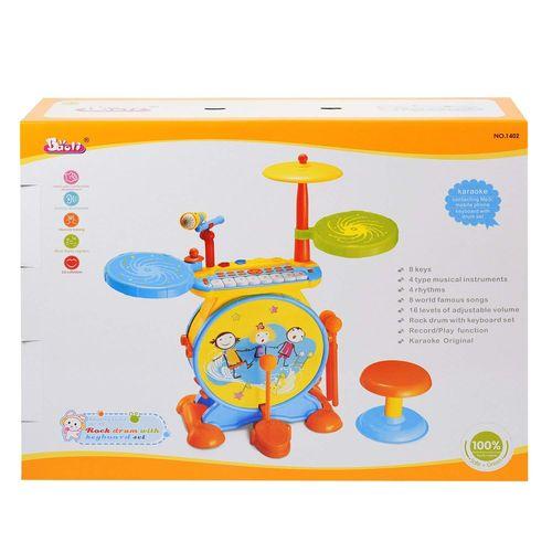 Batería 2 En 1 Para Niños, Instrumento Musical, Set de Rock And Roll y Jazz Drum, Incluye Teclado de Piano, Micrófono y Taburete