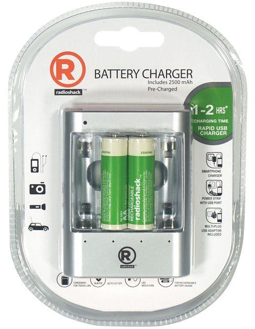Cargador de baterías AA-AAA  de 1-2 horas - Incluye 2 baterías AA