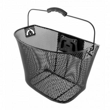 Canasta de metal para bicicleta, color negro, para la parte delantera de la bicicleta, dimensiones 60x36x50 cm, peso 0.95 kg, asa y sujetador