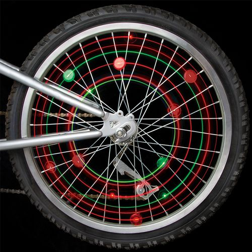 Mini luces led para ruedas de bicicleta 2 pack color verde, baterías reemplazables, resistente al clima, giro de encendido y apagado, fácil de colocar