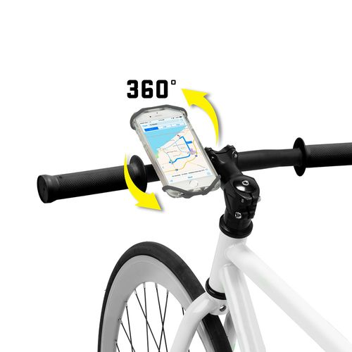 Soporte giratorio 360° para manillar de scooter/bicicleta Wraptor, adaptable a teléfonos grandes, correa universal, sujeta el teléfono de forma segura