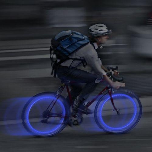 Mini luces led para ruedas de bicicleta 2 pack color azul, baterías reemplazables, resistente al clima, giro de encendido y apagado, fácil de colocar