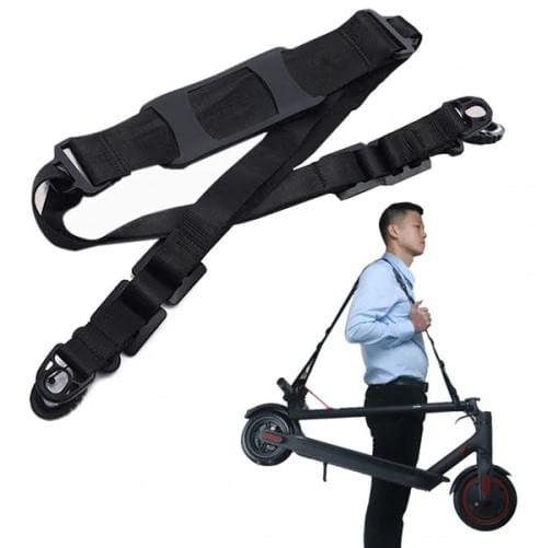 Correa ajustable para transportar scooter, se coloca en el hombro, con almohadillas antidelizantes, hebilla de liberación rápida, plegable y ligera