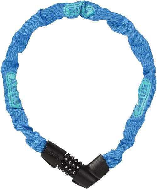 Cadena Tresor 1385/75 color Neon Blue, de 6 mm con funda de tela que evita daños en la pintura del equipo, de acero y código de seguridad configurable