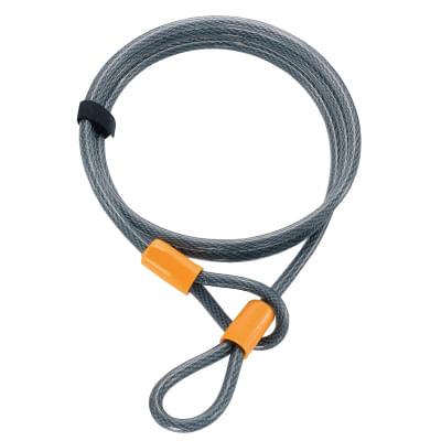 Cadena 8043, cable de acero de 220 cm de largo, extra flexible recubierto de vinilo de servicio mediano con bucles abatibles, incluye correa de velcro