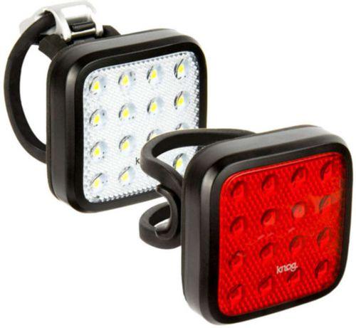 Luz Blinder Mob Twinpack Kid Grid, pack x 2, luz blanca delantera, luz roja trasera, 16 luces LED, recargable vía USB, 5 correas