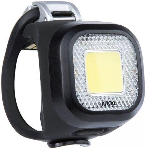 Luz Blinder Mini Chippy Front Black, luz blanca delantera, base negra, recargable vía USB, 20 lúmenes, 3 correas intercambiables, 5 modos, 40 x 29 mm