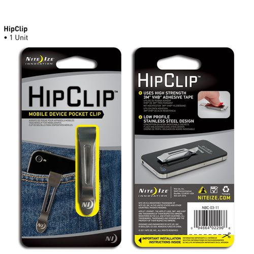Clip de bolsillo para dispositivos móviles Nite Ize Hipclip acero inoxidable, adhesivo 3M, clip discreto