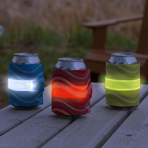 Envoltura led para bebida Slaplit color azul, bandas de acero con envoltorio aislante de neopreno, 2 modos, botón de activación, batería reemplazable