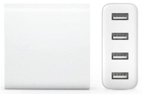 Cargador de pared con 4 puertos USB función de carga rápida color blanco