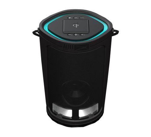 Parlante bluetooth Mini Soundbucket, resistente al agua IP67, luces Led, con cargador inalámbrico y usb, color negro