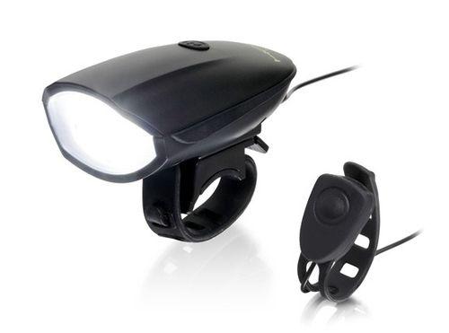 Bocina con luz Hornit lite black, recargable USB, bocina de 120 decibelios y luz de 250 lúmenes, 6 modos de luz y 5 modos de bocina, disparador remoto