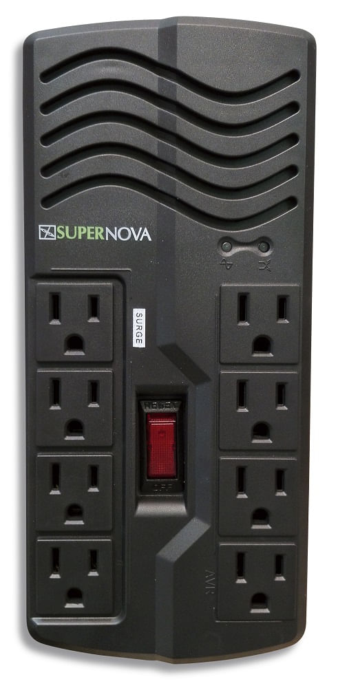 Estabilizador de corriente 8 salidas universales tipo receptáculo, capacidad de 1,000VA/500W