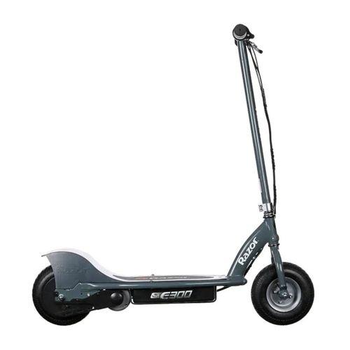 "Scooter eléctrico Razor E300, color gris, autonomía 40 min (uso continuo), vel máx. 24 km/h, tolerancia 100kg, llantas 10"" inflables, 250W, peso 20 kg"