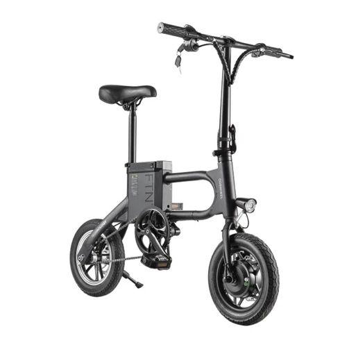 "Bicicleta eléctrica plegable FTN T2 PRO II color negro, vel máx 20km/h, autonomía 20-25 km, llantas 12"", tolerancia 100kg, 350W, recarga en 5-6 horas"