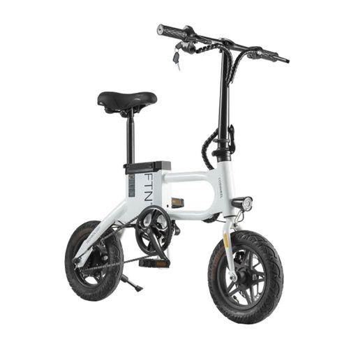 """Bicicleta eléctrica plegable FTN T2 PRO II color blanco, vel máx 25km/h, autonomía 20-25 km, llantas 12"""", tolerancia 100kg, 350W, recarga 5-6 horas"""