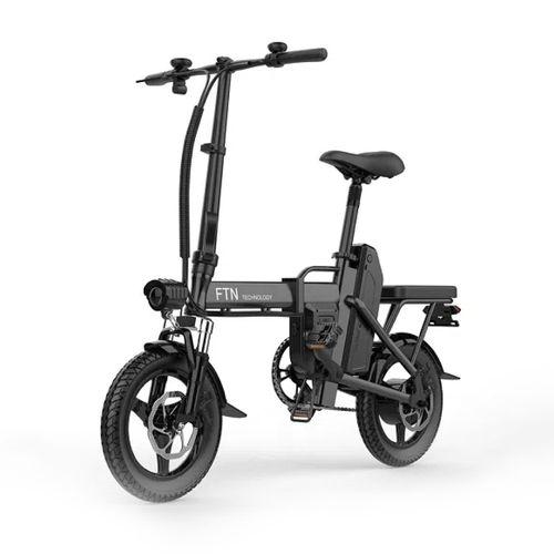 "Bicicleta eléctrica plegable FTN T5, negra,  vel máx 25km/h, autonomía 25-30km, llantas 14"", tolerancia 120kg, 350W, doble asiento, recarga 4-5 horas"