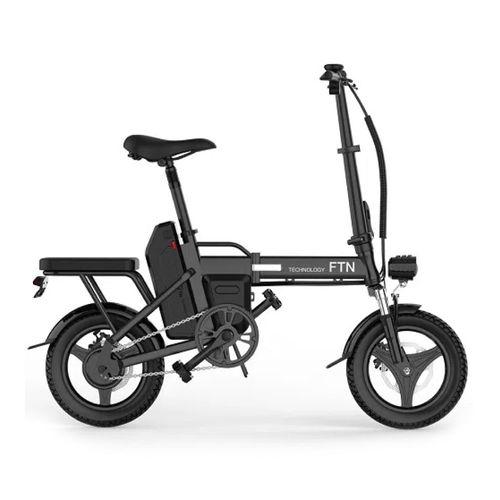 "Bicicleta eléctrica plegable FTN T5, negra, vel máx 20-25km/h, autonomía 25-30km, llantas 14"", tolerancia 120kg, 350W, doble asiento, recarga 4-5 hrs"