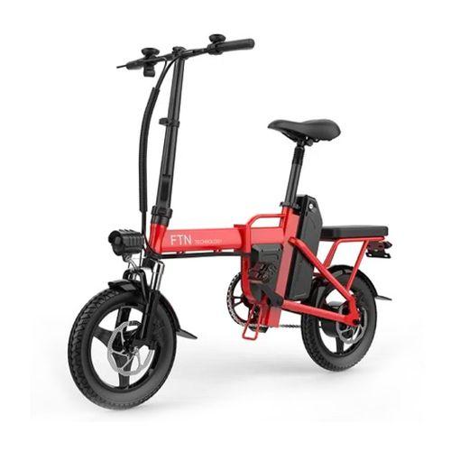 "Bicicleta eléctrica plegable FTN T5, roja,  vel máx 25km/h, autonomía 25-30km, llantas 14"", tolerancia 120kg, 350W, doble asiento, recarga 4-5 horas"