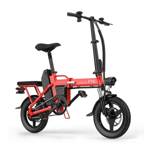 "Bicicleta eléctrica plegable FTN T5, roja, vel máx 20-25km/h, autonomía 25-30km, llantas 14"", tolerancia 120kg, 350W, doble asiento, recarga 4-5 horas"