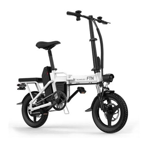 "Bicicleta eléctrica plegable FTN T5, blanca, vel máx 20-25km/h, autonomía 25-30km, llantas 14"", tolerancia 120kg, 350W, doble asiento, recarga 4-5 hrs"