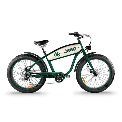 """Bicicleta Eléctrica Verde/Blanco, Autonomía 20-30 km, Vel Máx 25 km/h, Tolerancia: 100 kg, Llantas de 26"""", Potencia: 250W, 7 velocidades, luz y bocina"""