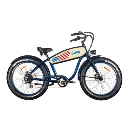 """Bicicleta Eléctrica Jeep Azul/Blanco con Autonomía 20-30 km, Vel. Máx: 25 km/h, Tolerancia: 100 kg, Llantas de 26"""", Potencia: 250W"""