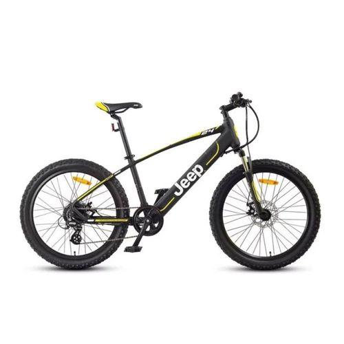 """Bicicleta eléctrica Jeep Hardtail, autonomía 35-40 km, vel. máx: 25 km/h, tolerancia 100 kg, motor de 250W, llantas de 24"""", tiempo de carga: 6-8 horas"""