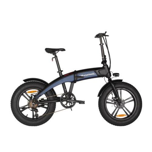 "Bicicleta Eléctrica Maserati Negro/Azul con Autonomía 30-40 km, Vel. Máx: 25 km/h, Tolerancia: 100 kg, Llantas de 20"", Potencia: 250W, Plegable"