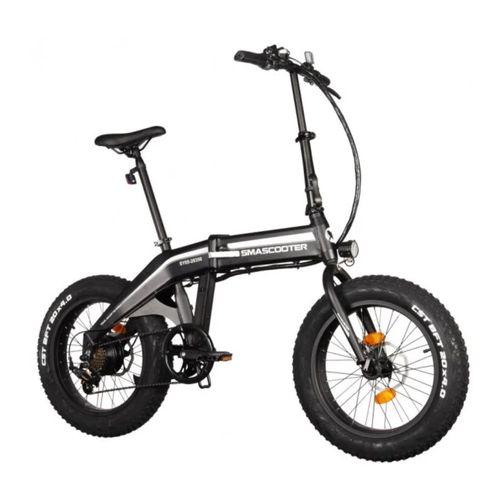 "Bicicleta eléctrica Smascooter Negro, Autonomía 30km, Vel. Máx: 25 km/h, Tolerancia 100kg, Potencia 350W, Llantas 20"", 7 velocidades Shimano, plegable"