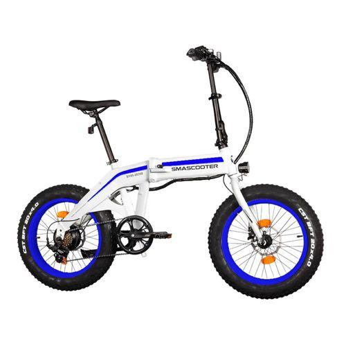 "Folding Bike Azul/Blanco - Autonomía 30KM, Vel. Máx 25 km/h, Tolerancia 100KG, Potencia 350W, Neumáticos 20""; Palanca 7 velocidades Shimano"