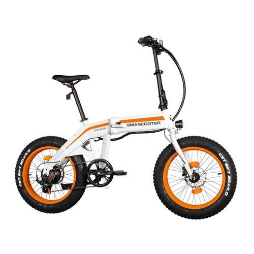 "Folding Bike Naranja/Blanco-Autonomía 30KM, Vel. Máx 25 km/h, Tolerancia 100KG, Potencia 350W, Neumáticos 20"", Palanca 7 velocidades Shimano"