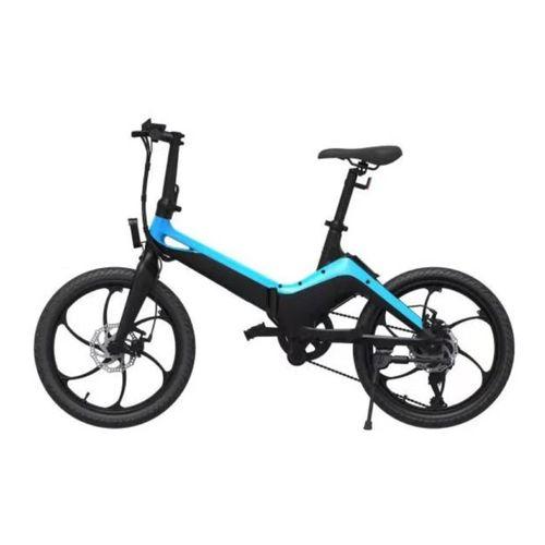 """Bicicleta eléctrica Onebot S9, color negro y azul, autonomía 45 km, vel. máx: 25 km/h, llantas de 20"""", motor 250W, tolerancia 120kg, batería extraíble"""