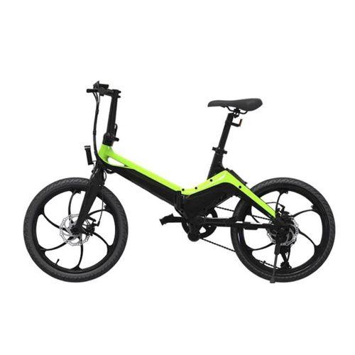 """Bicicleta eléctrica Onebot S9, color negro y verde, autonomía 45 km, vel. máx 25 km/h, llantas de 20"""", motor 250W, tolerancia 120kg, batería extraíble"""