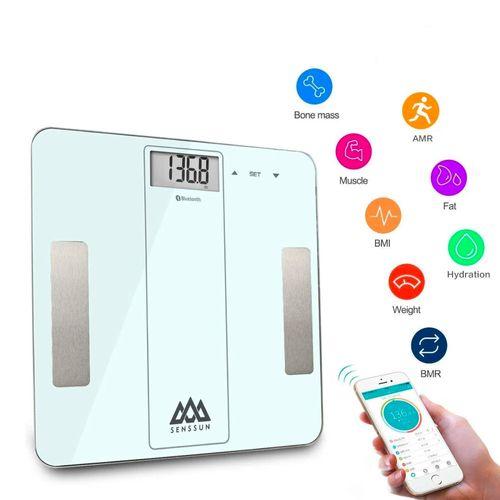 Balanza Digital Smart Bluetooth Blanca - Medidor Inteligente de Masa Corporal, IMC,, Analizador de composición de Cuerpo con APP en IOS y Android