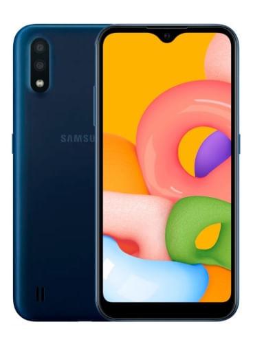 """Galaxy A01 Azul, Cámara principal de 13MP, Cámara frontal de 5MP, 16GB de Memoria y 2GB de RAM, Batería de 3,000 mAh, Pantalla 5.7"""", Dual Sim"""