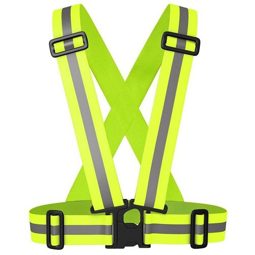 Chaleco reflectivo de correas ajustables verde neón, cintas de 5cm de ancho, cinta reflectiva de 2cm de ancho, cómodo, portátil, ajustable y ligero