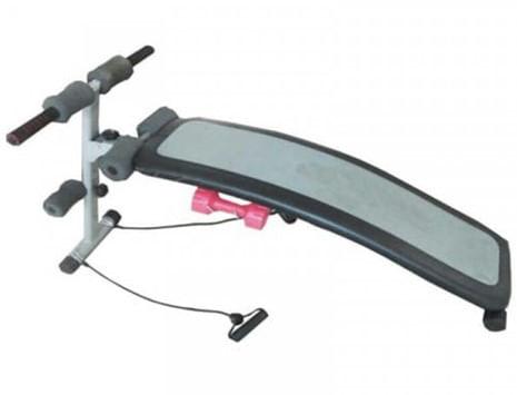 Banca Curva Para Abdominales 100, Incluye dos mancueras, banda elastica para tonificar los brazos y hombros, Peso máximo: 100 KG