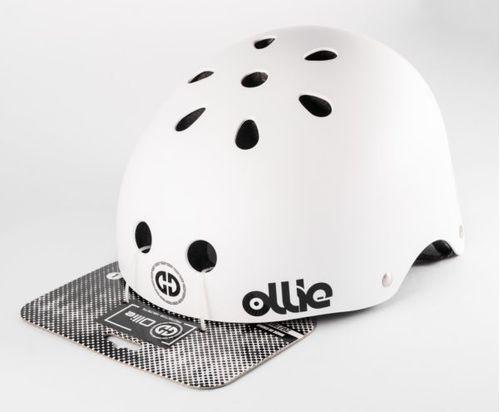 Casco Ollie estilo urbano talla L color blanco mate, regulable, correa ajustable, 11 vías de ventilación, EPS, tamaño de cabeza 58-62 cm
