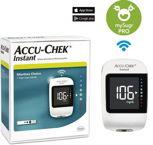 Glucómetro Accu-Check Instant, Resultado en 4 segundos, Transferencia de resultados al celular vía app mySugr. Simple y fácil de usar.